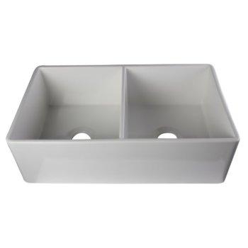 """Alfi brand White 32"""" Smooth Apron Double Bowl Fireclay Farmhouse Kitchen Sink, 32-3/4"""" W x 19-7/8"""" D x 10"""" H"""