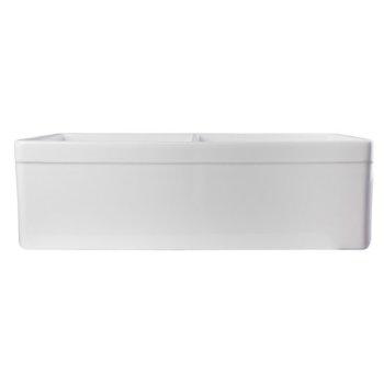 "Alfi brand White 32"" Decorative Lip Apron Double Bowl Fireclay Farmhouse Kitchen Sink, 32-3/4"" W x 19-7/8"" D x 10"" H"
