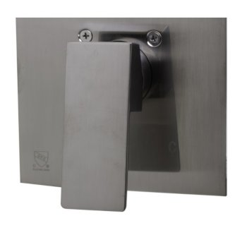 """Alfi brand Brushed Nickel Shower Valve Mixer with Square Lever Handle, 5-7/8"""" W x 6-5/8"""" D x 2"""" H"""