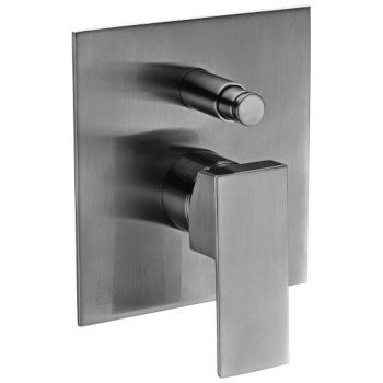 """Alfi brand Brushed Nickel Shower Valve Mixer with Square Lever Handle and Diverter, 5-1/8"""" W x 7-1/4"""" D x 2"""" H"""