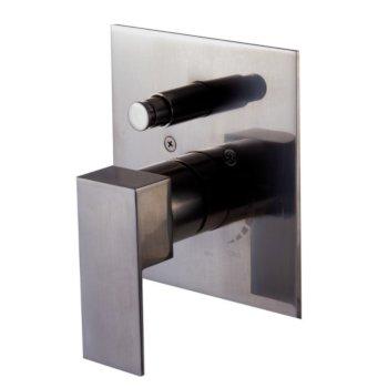 "Alfi brand Brushed Nickel Modern Square Pressure Balanced Shower Mixer with Diverter, 5-3/4"" W x 7-1/2"" D x 3"" H"