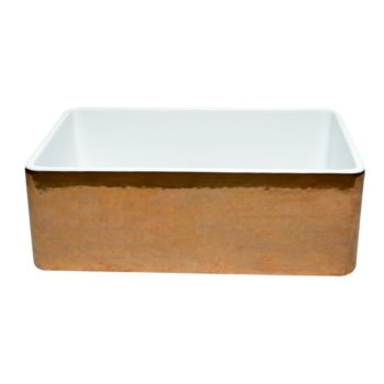 """30"""" Hammered Copper/Fluted Smooth Front View"""