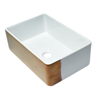 """ALFI brand 30"""" Reversible Single Fireclay Farmhouse Kitchen Sink in Hammered Copper/Fluted, 29-3/4"""" W x 20-1/8"""" D x 9-7/8"""" H"""