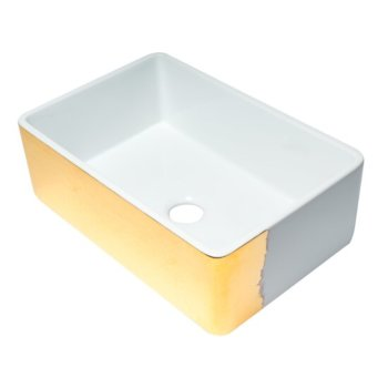 """ALFI brand 30"""" Reversible Single Fireclay Farmhouse Kitchen Sink in Hammered Gold/Fluted, 29-3/4"""" W x 20-1/8"""" D x 9-7/8"""" H"""