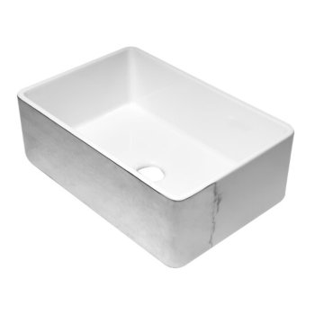"""ALFI brand 30"""" Reversible Single Fireclay Farmhouse Kitchen Sink in Hammered Platinum/Fluted, 29-3/4"""" W x 20-1/8"""" D x 9-7/8"""" H"""