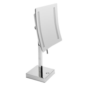 """ALFI brand 8"""" Tabletop Square 5X Magnifying Cosmetic Mirror with Light in Polished Chrome, 7-7/8"""" W x 7-7/8"""" D x 14-5/8"""" H"""
