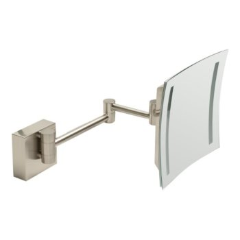 "ALFI brand 8"" Wall Mounted Square 5X Magnifying Cosmetic Mirror with Light in Brushed Nickel, 7-7/8"" W x 15-1/2"" D x 7-7/8"" H"
