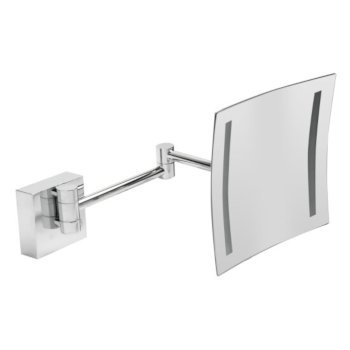 "ALFI brand 8"" Wall Mounted Square 5X Magnifying Cosmetic Mirror with Light in Polished Chrome, 7-7/8"" W x 15-1/2"" D x 7-7/8"" H"