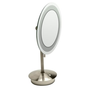 "ALFI brand Tabletop Round 9"" 5X Magnifying Cosmetic Mirror with Light in Brushed Nickel, 9"" Diameter x 14-1/4"" H"