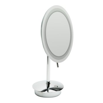 "ALFI brand Tabletop Round 9"" 5X Magnifying Cosmetic Mirror with Light in Polished Chrome, 9"" Diameter x 14-1/4"" H"