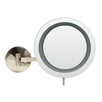 """ALFI brand Wall Mount Round 9"""" 5X Magnifying Cosmetic Mirror with Light in Brushed Nickel, 9"""" Diameter x 15-1/2"""" D"""