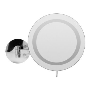 """ALFI brand Wall Mount Round 9"""" 5X Magnifying Cosmetic Mirror with Light in Polished Chrome, 9"""" Diameter x 15-1/2"""" D"""