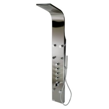 """ALFI brand Shower Panel with 6 Body Sprays in Brushed Stainless Steel, 7-7/8"""" W x 17-3/4"""" D x 63"""" H"""
