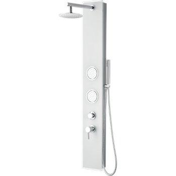 "ALFI brand Glass Shower Panel with 2 Body Sprays and Rain Shower Head in White, 8-5/8"" W x 20-1/8"" D x 59"" H"