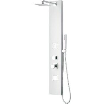 "ALFI brand Aluminum Shower Panel with 2 Body Sprays and Rain Shower Head in White, 8-5/8"" W x 20-3/4"" D x 51-1/8"" H"