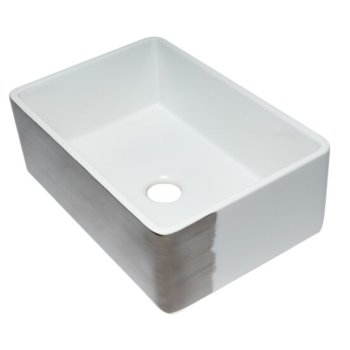 "ALFI brand 30"" Reversible Single Fireclay Farmhouse Kitchen Sink in Smooth Titanium/Fluted, 29-3/4"" W x 20-1/8"" D x 9-7/8"" H"
