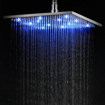 "Brushed Nickel 12"" LED Rain Shower Head"