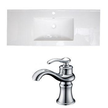 American Imaginations Alum 48 W Single Hole Ceramic Top Set In White 122 Chrome Faucet 1779
