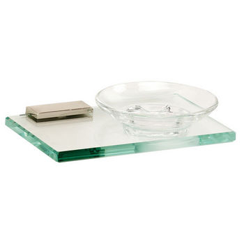 Alno Arch Series Soap Holder w/ Glass Dish, Polished Nickel