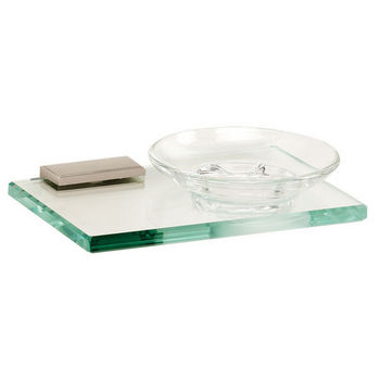 Alno Arch Series Soap Holder w/ Glass Dish, Satin Nickel