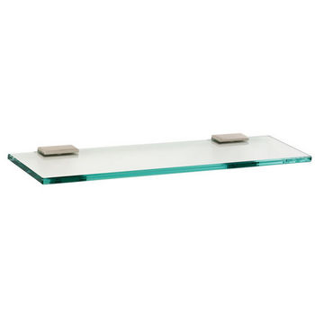 "Alno Arch Series 18"" Glass Shelf with Brackets, Satin Nickel"