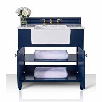 Heritage Blue / Italian Carrara Top / Gold Hardware - Front Open