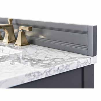 Sapphire Gray / Italian Carrara Top / Gold Hardware - Close-Up - Top View 2