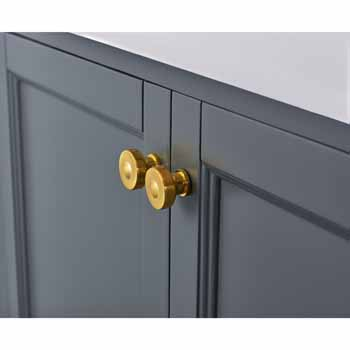 Sapphire Gray / Italian Carrara Top / Gold Hardware - Close-Up - Drawers View 1