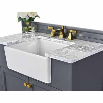 Sapphire Gray / Italian Carrara Top / Gold Hardware - Close-Up - Top View 1