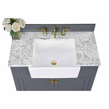 Sapphire Gray / Italian Carrara Top / Gold Hardware - Close-Up - Top View 3