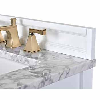 White / Italian Carrara Top / Gold Hardware - Front Open View 2