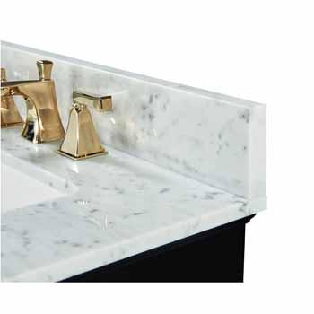 Onyx Black / Italian Carrara Top / Gold Hardware - Close-Up - Top View 2