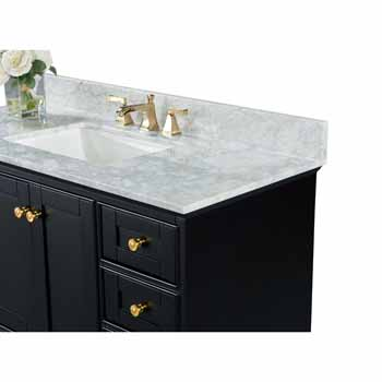 Onyx Black / Italian Carrara Top / Gold Hardware - Close-Up - Top View 1