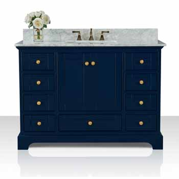Heritage Blue / Italian Carrara Top / Gold Hardware - Display View
