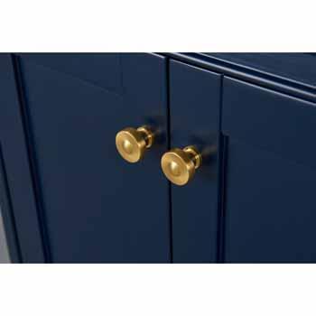 Heritage Blue / Italian Carrara Top / Gold Hardware - Close-Up - Drawers View 1