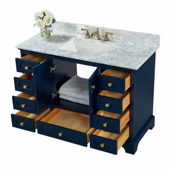 Heritage Blue / Italian Carrara Top / Gold Hardware - Angle View Open View 2