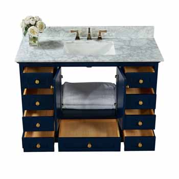 Heritage Blue / Italian Carrara Top / Gold Hardware - Angle View Open View 1