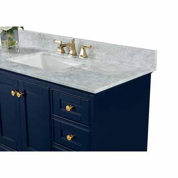 Heritage Blue / Italian Carrara Top / Gold Hardware - Close-Up - Top View 1