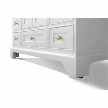 White / Italian Carrara Top / Gold Hardware - Close-Up - Bottom