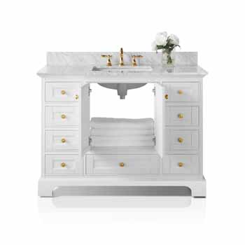 White / Italian Carrara Top / Gold Hardware - Front Open View 1