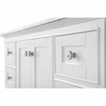 White / Italian Carrara Top - Close-Up - Drawers View 1