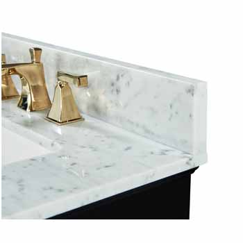 60'' - Onyx Black / Italian Carrara Top / Gold Hardware - Close-Up - Top View 2
