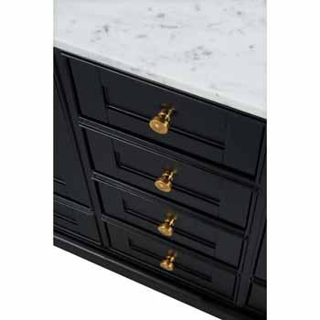 60'' - Onyx Black / Italian Carrara Top / Gold Hardware - Close-Up - Drawers View 1