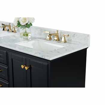 60'' - Onyx Black / Italian Carrara Top / Gold Hardware - Close-Up - Top View 1