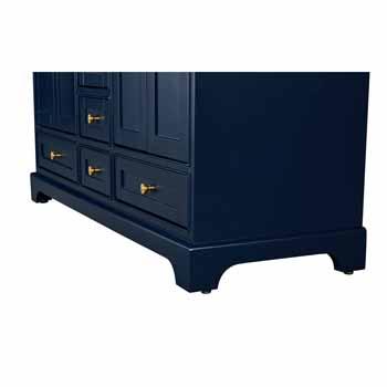 60'' - Heritage Blue / Italian Carrara Top / Gold Hardware - Close-Up - Bottom
