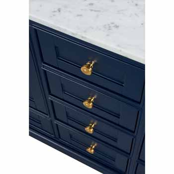 60'' - Heritage Blue / Italian Carrara Top / Gold Hardware - Close-Up - Drawers View 1