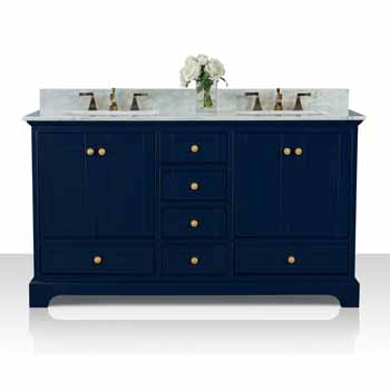 60'' - Heritage Blue / Italian Carrara Top / Gold Hardware - Display View