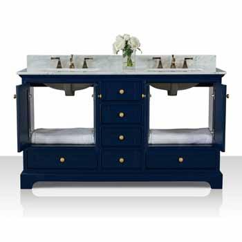 60'' - Heritage Blue / Italian Carrara Top / Gold Hardware - Front Open View 1