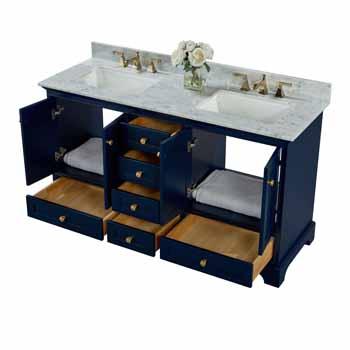 60'' - Heritage Blue / Italian Carrara Top / Gold Hardware - Front Open View 3