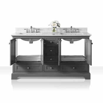 60'' - Sapphire Gray / Italian Carrara Top - Front Open View 1